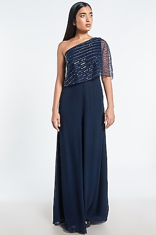 Navy Blue One Shoulder Cape Jumpsuit by Shivani Awasty