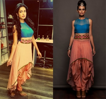 Onion pink and blue asymmetrical tunic set by SVA BY SONAM & PARAS MODI