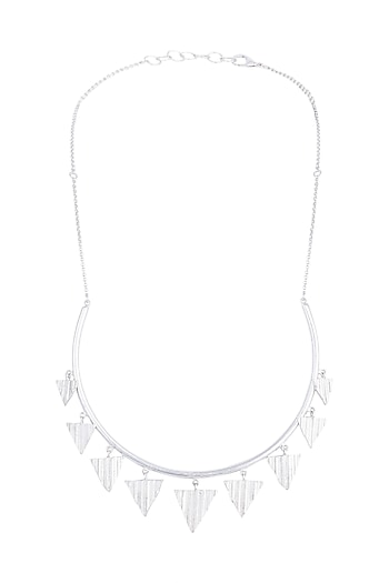 Silver Plated Hasli Necklace by Flowerchild By Shaheen Abbas