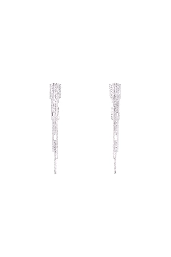 Silver Plated Textured Long Spike Earrings by Flowerchild By Shaheen Abbas