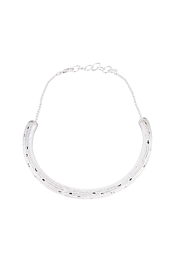 Silver Plated Textured Hasli Necklace by Flowerchild By Shaheen Abbas