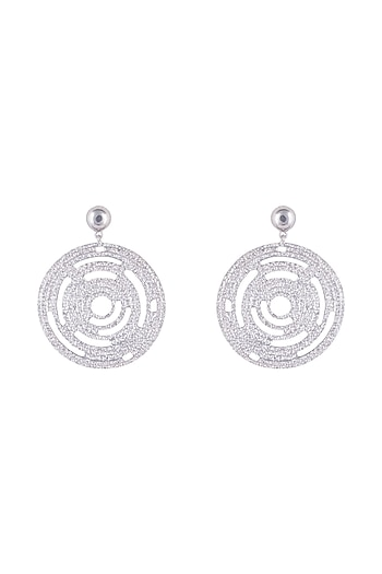 Silver Plated Textured Circle Earrings by Flowerchild By Shaheen Abbas