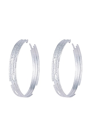 Silver Plated Textured Oversized Hoop Earrings by Flowerchild By Shaheen Abbas