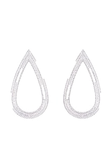 Silver Plated Textured Drop Earrings by Flowerchild By Shaheen Abbas