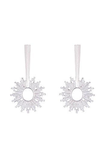 Silver Plated Textured Spike Earrings by Flowerchild By Shaheen Abbas