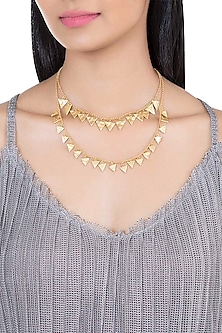 Gold Plated Textured Layered Necklace by Flowerchild By Shaheen Abbas