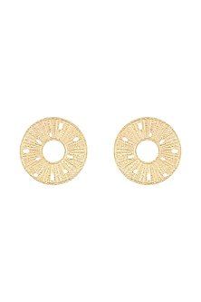 Gold Plated Textured Round Earrings by Flowerchild By Shaheen Abbas