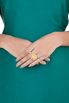 Gold Plated Textured Two Finger Ring by Flowerchild By Shaheen Abbas