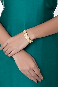 Gold Plated Textured Cuff by Flowerchild By Shaheen Abbas