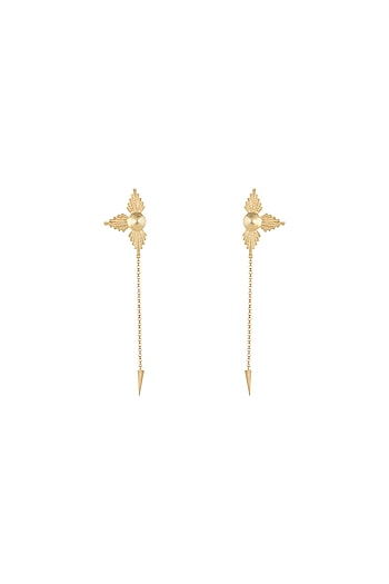 Gold Plated Textured Long Earrings by Flowerchild By Shaheen Abbas
