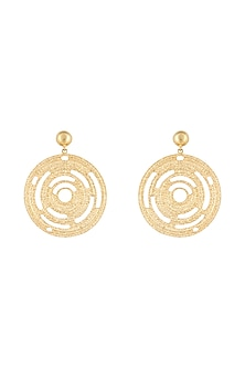 Gold Plated Textured Circle Earrings by Flowerchild By Shaheen Abbas