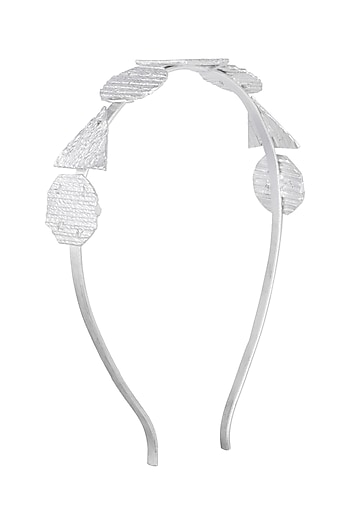 Silver Plated Textured Hairband by Flowerchild By Shaheen Abbas