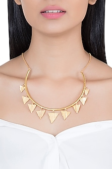 Gold Plated Hasli Necklace by Flowerchild By Shaheen Abbas