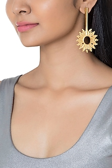 Gold Plated Textured Spike Earrings by Flowerchild By Shaheen Abbas