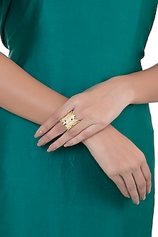 Gold Plated Textured Ring by Flowerchild By Shaheen Abbas