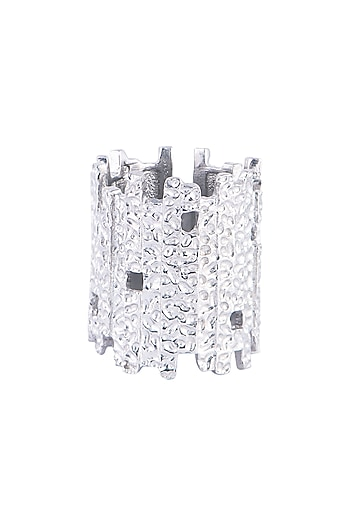 Silver Plated Textured Ring by Flowerchild By Shaheen Abbas