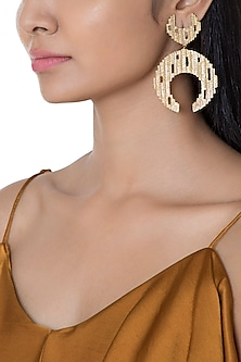 Gold Plated Textured Moon Shaped Earrings by Flowerchild By Shaheen Abbas