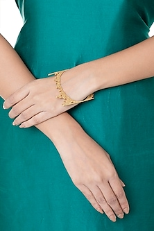 Gold Plated Textured Bangle by Flowerchild By Shaheen Abbas