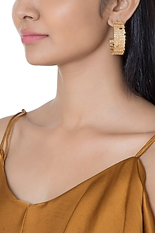 Gold Plated Textured Big Hoop Earrings by Flowerchild By Shaheen Abbas