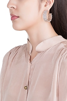 Silver Plated Textured Hoop Earrings by Flowerchild By Shaheen Abbas