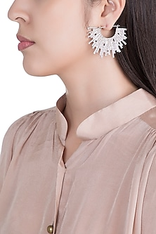 Silver Plated Textured Spiked Hoop Earrings by Flowerchild By Shaheen Abbas
