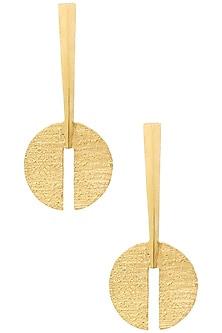 Gold Plated Round Earrings by Flowerchild By Shaheen Abbas