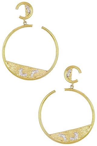 Gold Plated Hoop Earrings by Flowerchild By Shaheen Abbas