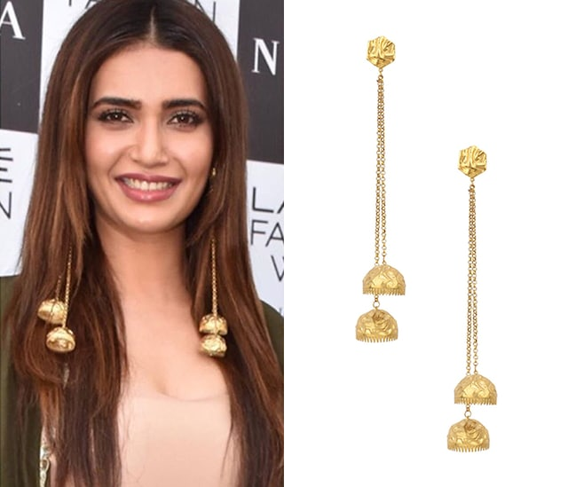 Gold Plated Jhumki Drop Earrings by Flowerchild By Shaheen Abbas