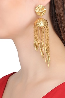 Gold Plated Jhumki Earrings by Flowerchild By Shaheen Abbas