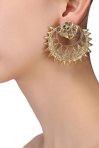 Gold Plated Chandbali Earrings by Flowerchild By Shaheen Abbas
