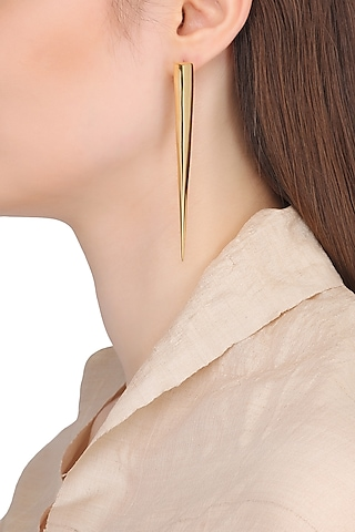 Gold Plated Spike Earrings by Flowerchild By Shaheen Abbas