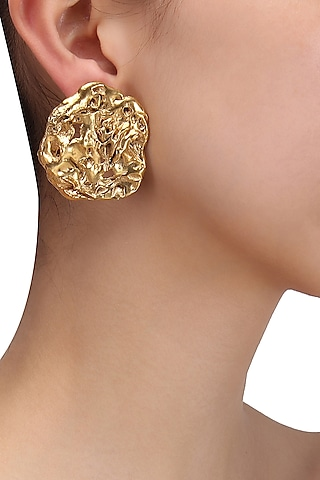 Gold Plated Abstract Stud Earrings by Flowerchild By Shaheen Abbas