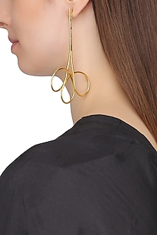 Gold Plated Abstract Spiral Earrings by Flowerchild By Shaheen Abbas