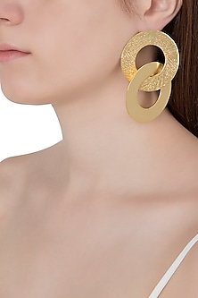 Gold Plated Dual Hoop Earrings by Flowerchild By Shaheen Abbas
