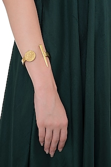 Gold Plated Spiral and Spike Hand Cuff by Flowerchild By Shaheen Abbas