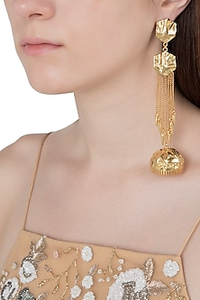 Gold Plated Textured Jhumki Earrings by Flowerchild By Shaheen Abbas