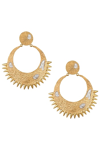 Gold Plated Textured Spikes Crescent Earrings by Flowerchild By Shaheen Abbas