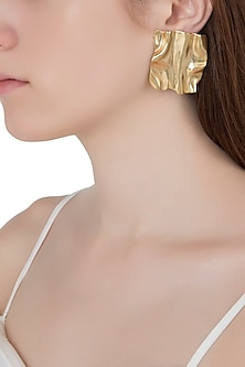 Gold Plated Textured Square Shaped Earrings by Flowerchild By Shaheen Abbas