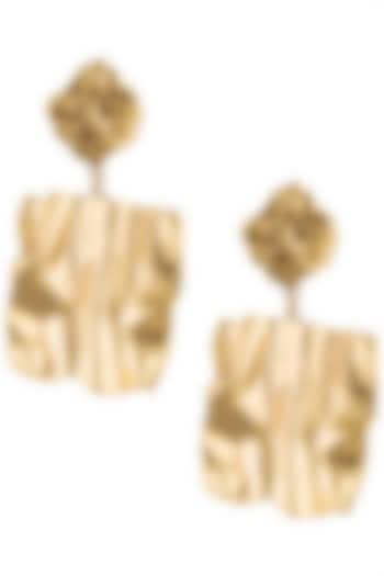 Gold Plated Textured Two Drop Earrings by Flowerchild By Shaheen Abbas