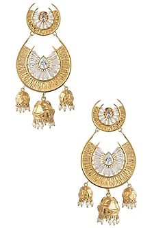 Gold Plated Stone and Pearls Chandbali Earrings by Flowerchild By Shaheen Abbas