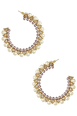 Gold Plated Stone and Pearls Open Hoop Earrings by Flowerchild By Shaheen Abbas
