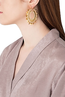 Gold Plated Stone and Pearls Hoop Earrings by Flowerchild By Shaheen Abbas