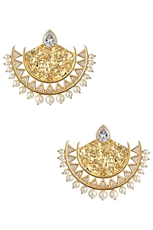 Gold Plated Stone and Pearls Textured Chandbali Earrings by Flowerchild By Shaheen Abbas