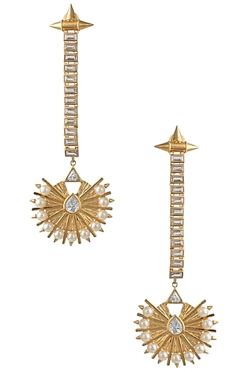 Gold Plated Stone and Pearls Drop Earrings by Flowerchild By Shaheen Abbas