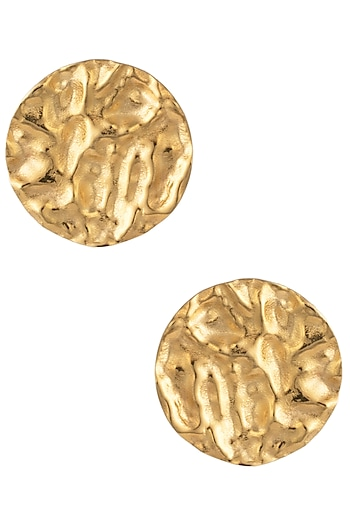 Gold Plated Textured Stud Earrings by Flowerchild By Shaheen Abbas