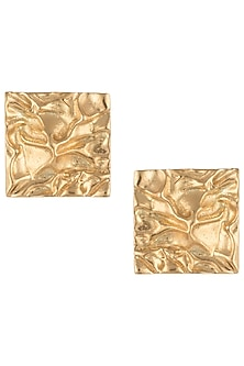 Gold plated textured square stud earrings by Flowerchild By Shaheen Abbas