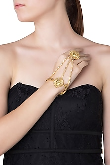 Gold Plated Stones Textured Hand Cuff by Flowerchild By Shaheen Abbas
