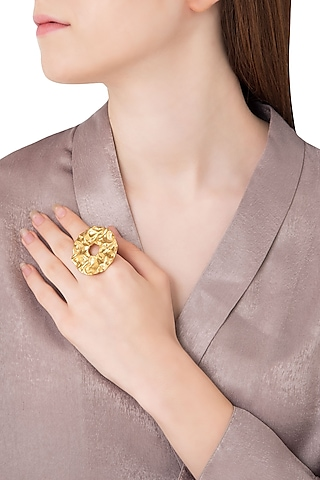 Gold Plated Circular Textured Ring by Flowerchild By Shaheen Abbas