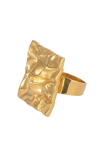 Gold Plated Square Shaped Textured Ring by Flowerchild By Shaheen Abbas