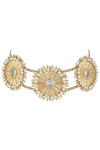 Gold plated zircon and pearl textured choker necklace by Flowerchild By Shaheen Abbas